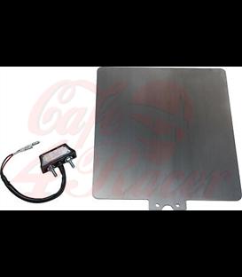 """Univerzálny držiak ŠPZ vr. Osvetlenie poznávacej značky LED (""""schválené""""), nehrdzavejúca oceľ 2mm, veľkosť 180x200mm"""