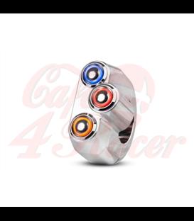 "Rebel tlačidlo 3  button LED – leštené 22mm 7/8"""