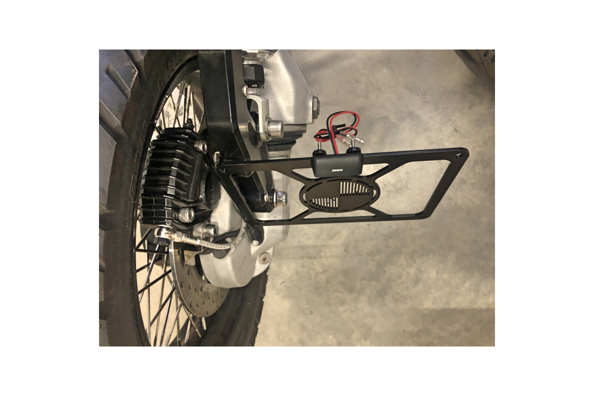 Universal plate holder for mounting on side (rear shock) or suspension kit with various sizes of plates for DE, CH, NL, AU, FR,